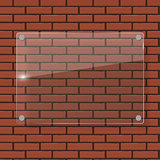 Glass Frame on Brick Wall Vector Illustration Background