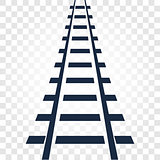 Isolated rails, railway top view, ladder elements vector illustrations on checkered gradient background