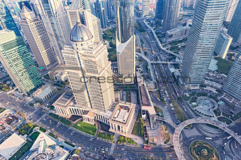 Aerial view of Shanghai city center.