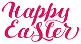 Happy Easter red lettering text for greeting card