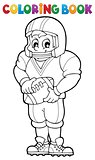 Coloring book American football player