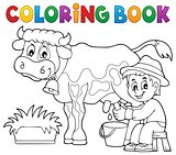 Coloring book farmer milking cow