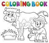 Coloring book farmer milking cow