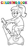 Coloring book girl exercising 2