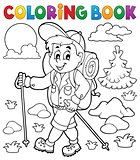 Coloring book hiker outdoor