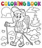 Coloring book hiker outdoor