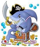 Pirate shark with treasure theme 1