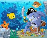 Pirate shark with treasure theme 2