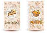 Cheesecake and muffins. Hand drawn vector illustration. Promotional brochure with pastries. Bakery shop. Perfect for restaurant brochure, cafe flyer, delivery menu.