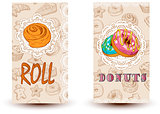 roll and donuts Bakery shop. Perfect for restaurant brochure, cafe flyer, delivery menu