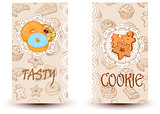 Tasty and cookies.Design elements in sketch style for confectionery and bakery shops.