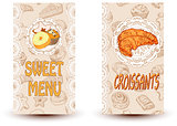 sweet menu and croissant
