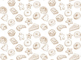 Hand drawn vector illustration - Seamless pattern with sweet and dessert. Yummy background