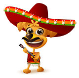 Mexican dog in sombrero plays guitar