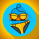 Fashionable women gold swimsuit bikini vector icon. Flat design style.