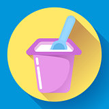 yogurt cup with a spoon flat icon Vector Illustration