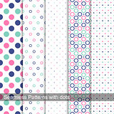 Collection of dotted seamless patterns.
