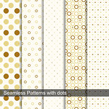 Seamless retro patterns with circles and dots.