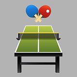 Table tennis rackets with ball on table vector illustration on dark background