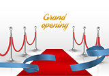 White backgraund with red carpet and blue ribbon. vector illustration
