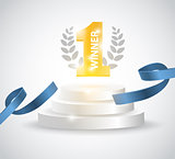 Winner background with blue ribbon, on round pedestal isolated on white. Poster or brochure template.