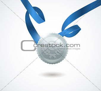 Champion silver medal with ribbon on white background. Vector illustration.