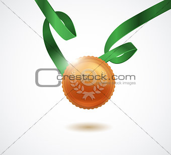 Champion bronze medal with ribbon on white background. Vector illustration