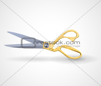 poster mock-up with golden scissors isolated on white background.