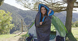 Funny female in sleeping bag