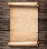 vintage paper scroll on wood