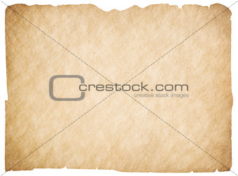 Old blank parchment or paper isolated. Clipping path is included.