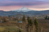 Mount Hood over Hood River at Sunset