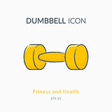 Dumbbell icon isolated on white.