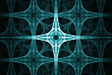 Abstract cyan spikes, cross design