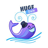 Cute whale and sale text.