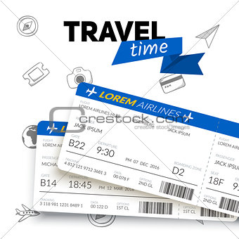 Tickets and travel badge.