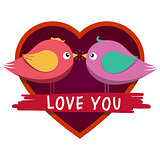 Heart shaped frame and cute inlove birds.