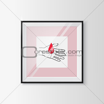 Blood donation sketch symbol in a frame.