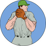 Baseball Pitcher Starting To Throw Ball Circle Drawing