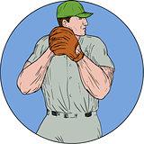Baseball Pitcher Starting To Throw Ball Circle Drawing