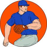 Baseball Pitcher Ready To Throw Ball Circle Drawing