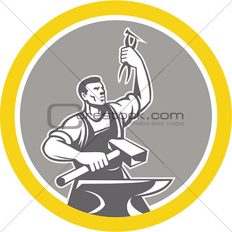 Blacksmith Worker Holding Pliers Anvil Circle Retro