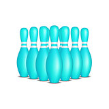 Bowling pins in turquoise design with white stripes standing in formation