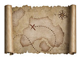 old pirates treasure scroll with torn edges map isolated