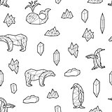 Seamless black and white kids tribal vector pattern with whales, penguins, polar bears and low-poly crystals.