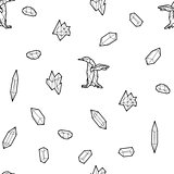 Seamless black and white kids tribal vector pattern with penguins and low-poly crystals.