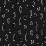 Seamless black and white geometric vector pattern with low-poly crystals.