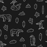 Seamless black and white kids tribal vector pattern with whales, penguins, polar bears and ice floes.