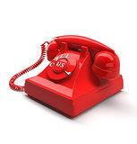 Old style phone with call us words. 3D rendering.