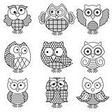 Nine amusing cartoon owl outlines